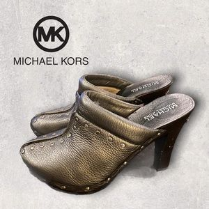Michael Kors Silver Metallic Stud Mules Clogs 6